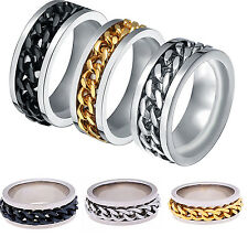 Fashion Men Stainless Steel Rotatable Chain Band Ring Silver/Black/Gold Sz6-11 C