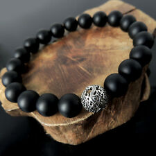 Stamina Strength Matte Black Onyx Bracelet Healing Yoga Sterling Silver Dragon