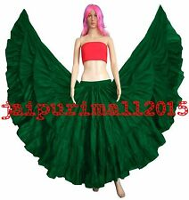 DEEP GREEN Cotton Gypsy 25 Yard Skirt 4 Tiered Tribal Belly Dance Costumes S~3XL