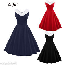 Plus Womens Retro 50s 60s Hepburn Rockabilly Swing Evening Party Dress Tea Dress