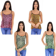 Womens Ladies Neon Leopard Print Strappy Cami T shirt Vest Top Plus Size