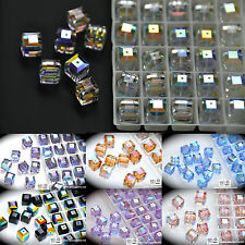 #5601  Swarovski Crystal 6mm Cube Square Beads AB coating pick colors