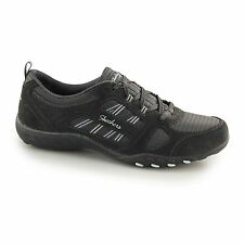 Skechers BREATHE EASY GOOD LUCK Ladies Womens Lace Up Walking Trainers Charcoal