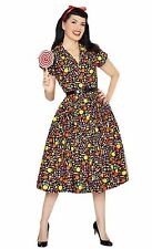 Bernie Dexter Kelly Candy print classic Shirtwaist Swing Dress Halloween sweets