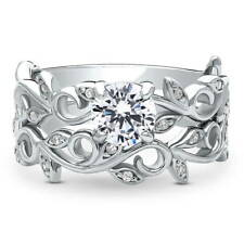 BERRICLE 925 Silver CZ Filigree Leaf Solitaire Engagement Ring Set 0.955 Carat