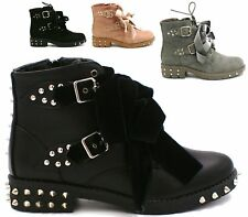 NEW WOMENS COWBOY WESTERN FUNKY FASHION LACE UP ANKLE BOOTS SHOES SIZE-3-8