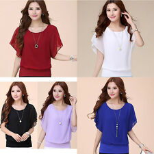 Short Slim Bat Sleeve NEW Summer Fashion Bat Chiffon T-Shirt Tops Casual Women's