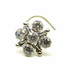 Traditional Indian Piercing Cork Screw Nose Stud White CZ Sterling Silver Nose