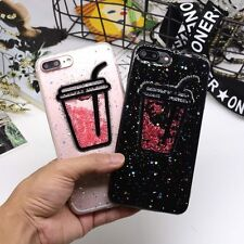 For iPhone 6 6s 7 Plus Luxury Bling Glitter Drink Cup Soft Back Phone Case Cover