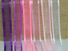 5m Ribbon Organza Satin Edge 20mm purple pink white gift wrapping- UK STOCK