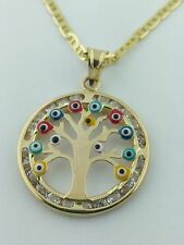 14K Solid Gold Evil Eye Tree Pendant Charm with Gucci  Necklace