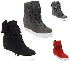 WOMENS HI TOP WEDGE SNEAKERS TRAINERS LACE UP FAUX SUEDE FLAT ANKLE BOOTS 3-8