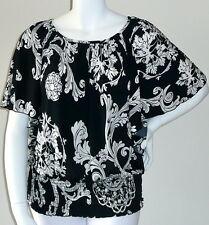 Yummy Plus! Floral Stretch Batwing Smocked Top Blouse Black White Plus 2X - New!