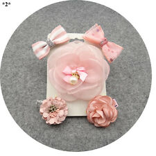 Kids Glitter Hair Clips and Pins Sets Pink Girls Floral Bowknot Wedding Headwear