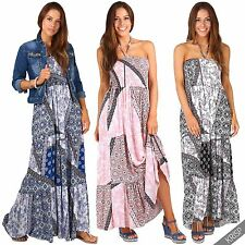 Womens Ladies Shirred Bandeau Floral Halter Neck Summer Beach Long Maxi Dress