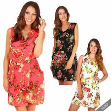 Women Ladies Drape Pleated Cowl Neck Floral Chiffon Tunic Sun Dress Summer Party