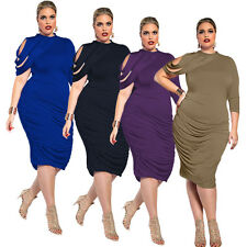 NEW Womens Plus Size Casual Club Sexy Bodycon Cocktail Party Evening Midi Dress