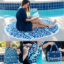 VIV&LOU PERSONALIZED MINT & NAVY ROUND BEACH TOWEL COOLER TOTE or COSMETIC BAG+