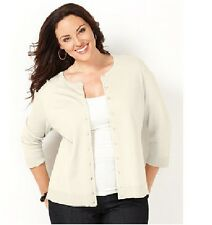 Charter Club Womens Plus Sweater Cardigan 3.4 Sleeve Solid White size 0X NEW