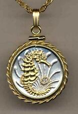 """Singapore 10 Cent """"Seahorse"""" Handmade 24k Gold on Silver Coin Necklace"""