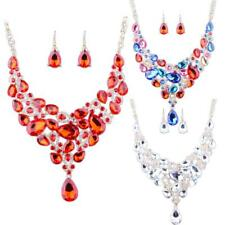Women Crystal Rhinestone Wedding Bridal Chunky Statement Necklace Earrings Set