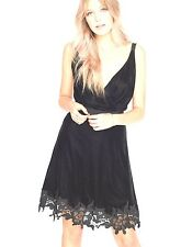 New Miss Selfridge Black Velvet Dress Lace Trim Contemporary V Neck NWT