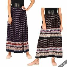 Women Ladies Casual Boho Lace Up Stretch Pleated Long Summer Gypsy Maxi Skirt
