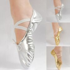 Women Girl Gold Silver Ballet Pointe Gymnastics Sequins Leather Dance Shoes