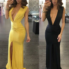 Women Deep V Neck Backless Sleeveless Party Cocktail Evening Sexy Long Dress