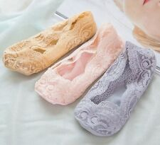 Girls Invisible No Show Nonslip Loafer Lace Liner Low Cut Cotton Boat Socks