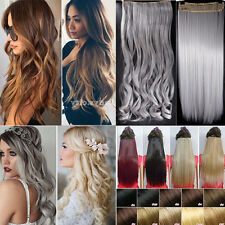 100% Long Straight Curly Wavy Ombre Thick Clip In Hair Extensions As Human kc5