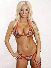 Red Aztec Scrunch Butt Bikini 3pc Tie Side Cheeky Bottom & Micro Red G-String