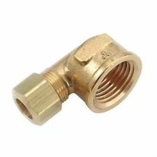 "Brass Compression Fitting. 90° Female Elbow. 1/2"" Tube x 3/8"" Pipe."
