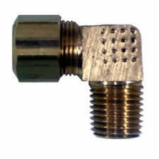 "Brass Compression Fitting. 90° Male Elbow. 3/8"" Tube x 3/8"" Pipe."