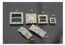 GRADE 'A' SQUARE DIAMANTE CRYSTAL RIBBON BUCKLE SLIDERS CLUSTER WEDDING INVITES