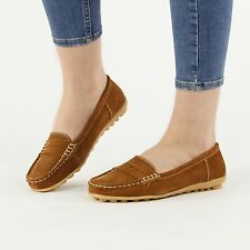 NICE Ladies Womens Suede Leather Slip On Driving Loafer Shoes Tan Brown