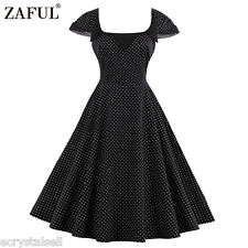 Women's Vintage Retro 1950s Cocktail Evening Party Casual Polka Dot A-line Dress