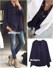 NWT ZARA WOMEN'S NAVY BLUE TIE FRONT LOOSE BLOUSE Sz-XS, S, M $99.9 BLOGGERS!!