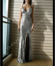 Silver Mermaid Sequin full length Open Back Evening gown/Prom Dress UK 6-8