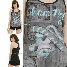"""DISNEY ALICE THROUGH THE LOOKING GLASS CHESHIRE CAT """"ILLUSION"""" TANK TOP JRS. NEW"""