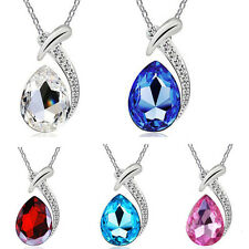 Fashion Women Crystal Rhinestone Necklace Pendant Silver Chain Jewelry Gift New