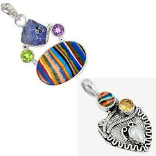 925 sterling silver rainbow calsilica pendant jewelry by jewelexi 5256A