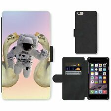 Phone Card Slot PU Leather Wallet Case For Apple iPhone flying astronaut white g