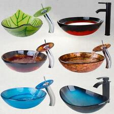 Colorful Wash Basin Set Bathroom Sink Bowl Faucet Bowl & Waterfall Mixer Taps