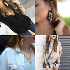 Women Boho Vintage Crystal Rhinestone Tassel Hook Dangle Earrings Ear Studs