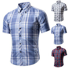 Men Plaid Shirts Short Sleeve Button-front Casual Slim Fit Luxury Stylish Dress