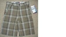 NWT Quiksilver Hooligan PLAID checker SHORTS with ADJUSTABLE waist BOYS 7 fits 6