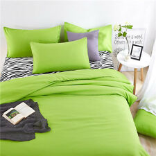 Green Single Queen King Bed Set Pillowcase Quilt Duvet Cover Zebra LXH
