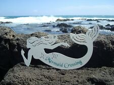 MERMAID CROSSING - NAUTICAL WHITE BEACH SAND TEXTURE SIGN Wall Home Decor NEW