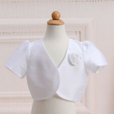 Baby Kids Girls White Flower Girl Party Dress Bolero Jacket Cover Up Satin Shrug